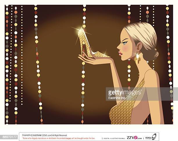 close-up of woman holding shoe - updo stock illustrations, clip art, cartoons, & icons