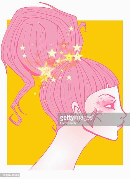 Closeup of woman with ponytail and stars