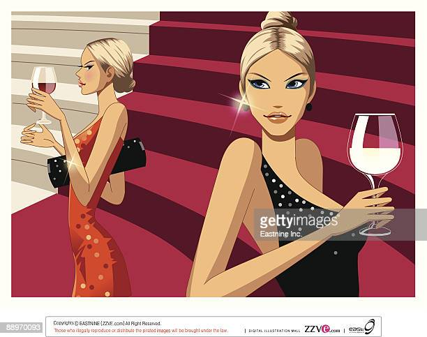 close-up of women holding wine glass on stairs - updo stock illustrations, clip art, cartoons, & icons