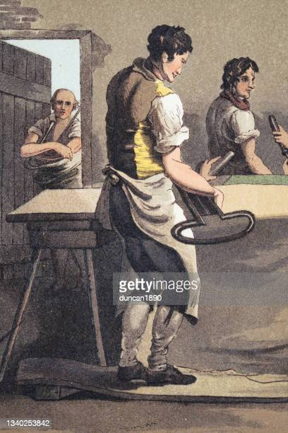 cloth dresser cropping cloth with large shears, yorkshire textile worker, early 19th century english art - historical clothing stock illustrations