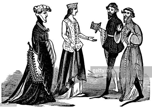 clothing from richard ii era - circa 14th century stock illustrations, clip art, cartoons, & icons