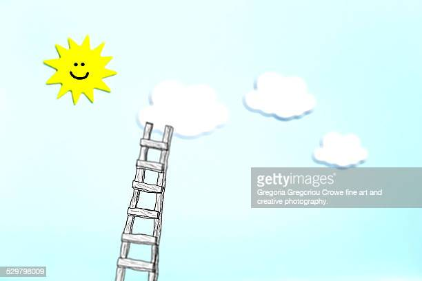 cloud and ladder - gregoria gregoriou crowe fine art and creative photography stock illustrations