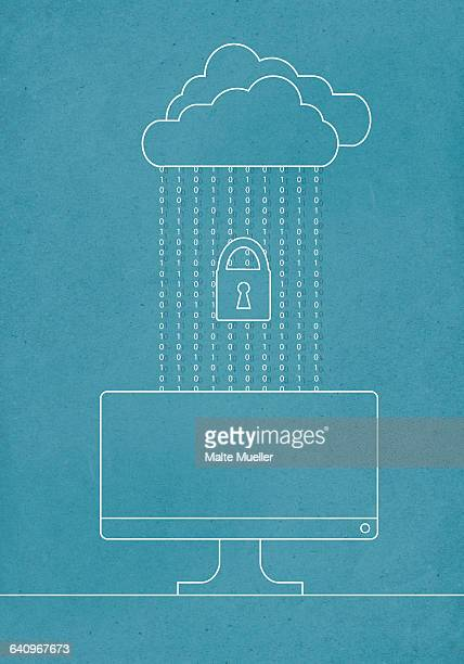 cloud connected to computer with lock - safety stock illustrations