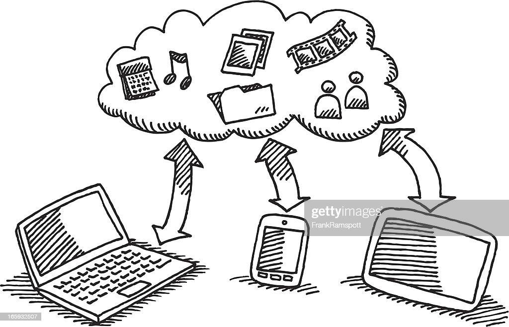 Cloud Data Exchange Laptop Smartphone Tablet PC : Stock Illustration