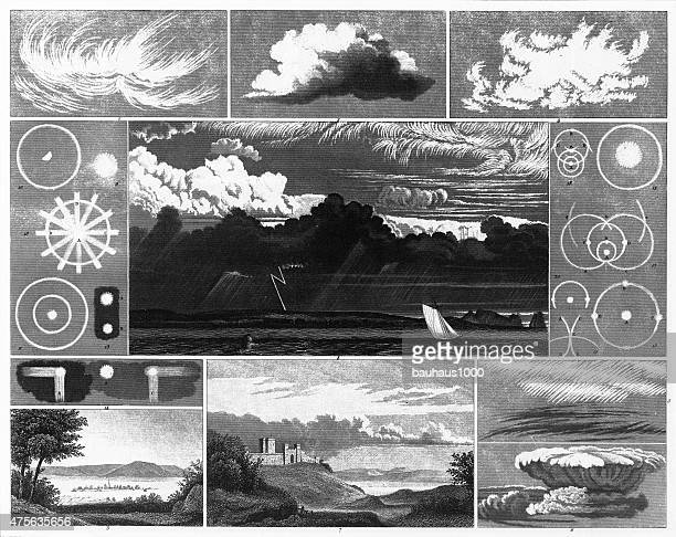 cloud formation and light refraction engraving - tide stock illustrations, clip art, cartoons, & icons