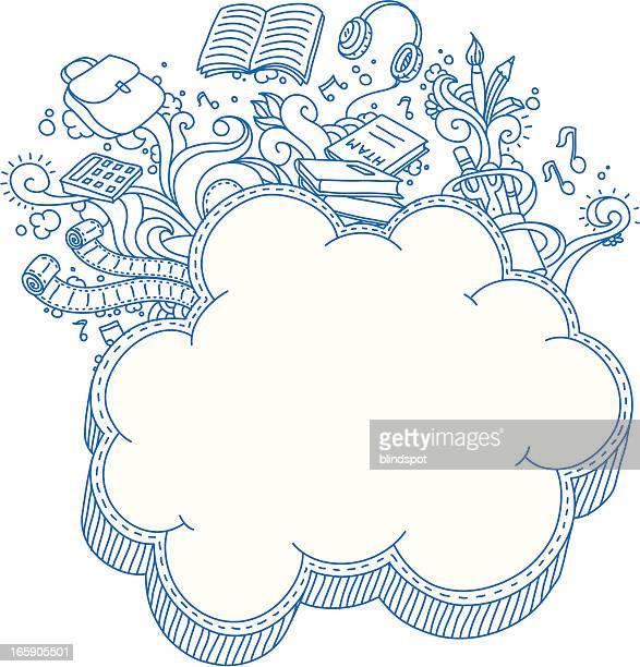 ilustraciones, imágenes clip art, dibujos animados e iconos de stock de cloud bastidor garabato - edificio escolar