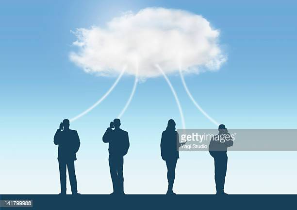 Cloud network with A person's silhouette