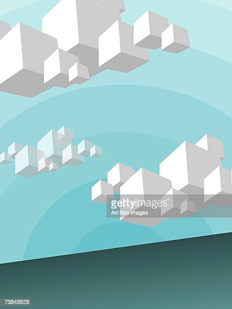 clouds in cubic shapes in the sky - number of people stock illustrations, clip art, cartoons, & icons