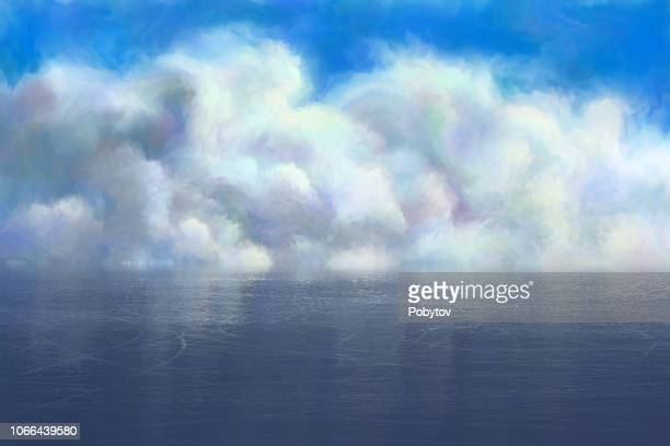 clouds over ice rink, painting - seascape stock illustrations