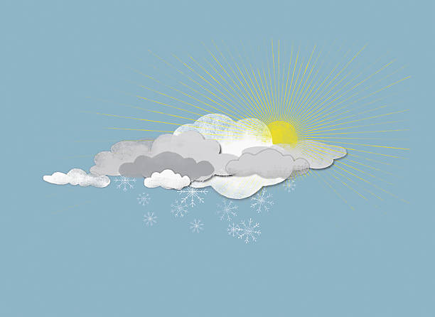 Clouds, Sun And Snowflakes Wall Art