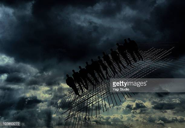 Cloudy sky, 3D line object and a person's silhouet