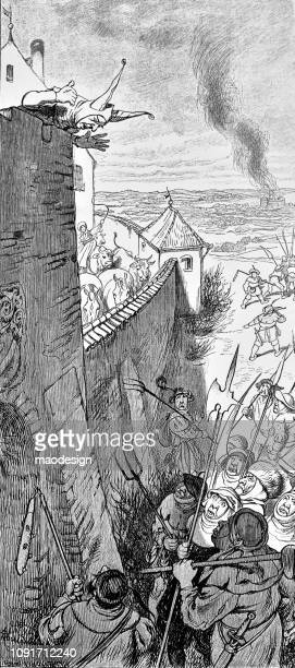 Clown defends the medieval city walls - 1896