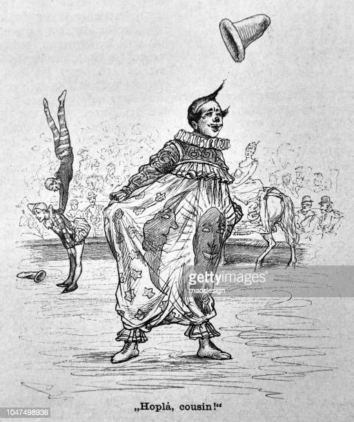 illustrations, cliparts, dessins animés et icônes de clown divertit les visiteurs lors d'un spectacle de cirque - 1888 - clown