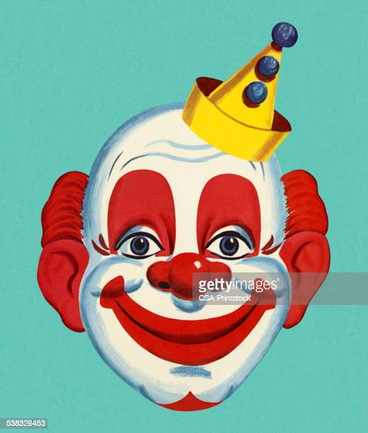 illustrations, cliparts, dessins animés et icônes de clown du visage - clown