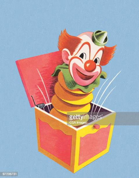 illustrations, cliparts, dessins animés et icônes de jack in the box-clown - diable à ressort