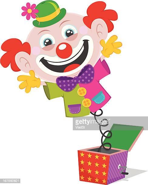 illustrations, cliparts, dessins animés et icônes de clown des touches d'une boîte - diable à ressort