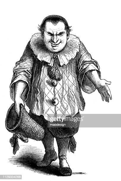 clown portrait - 1896 - graphic print stock illustrations