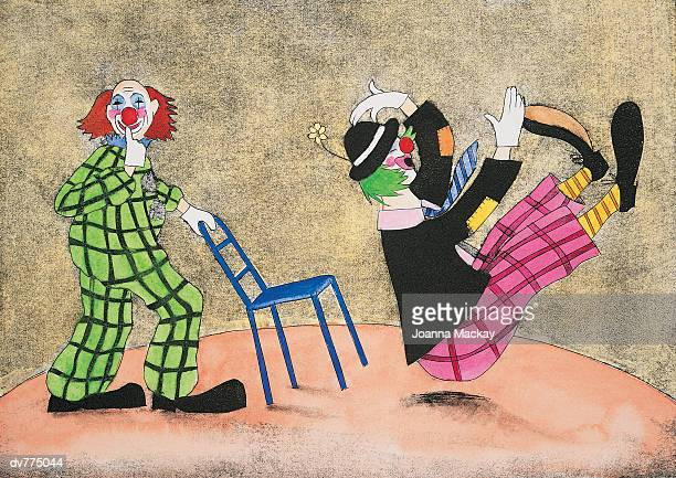 illustrations, cliparts, dessins animés et icônes de clown pulling a chair and surprising another clown - clown