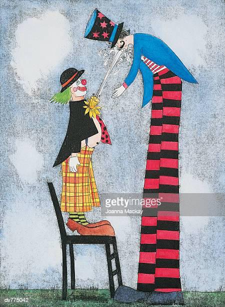clown spraying water at a tall man on stilts - tall high stock illustrations