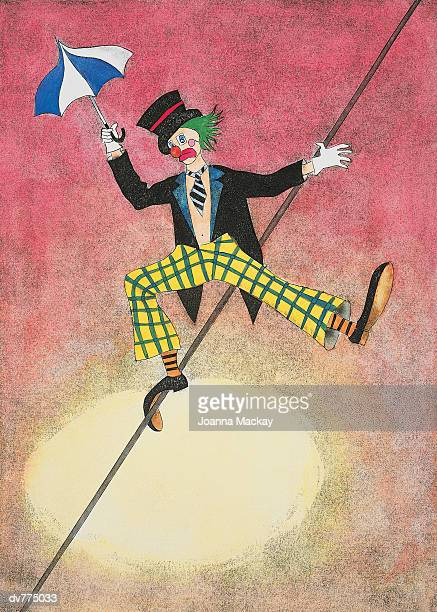 clown walking along a tightrope - front view stock illustrations