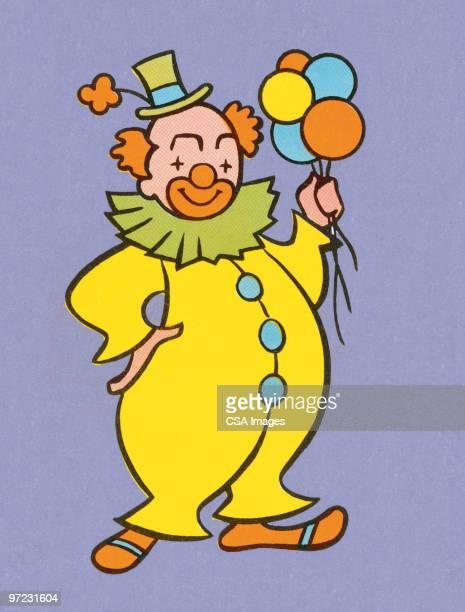 ilustraciones, imágenes clip art, dibujos animados e iconos de stock de clown with balloons - payaso