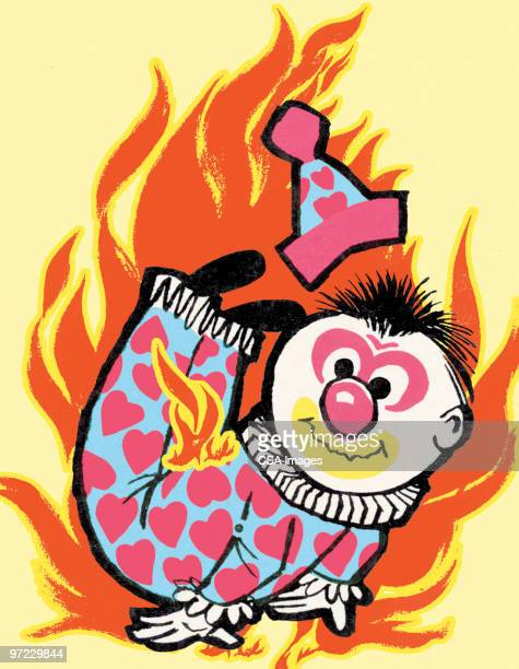 clown with flames - contortionist stock illustrations