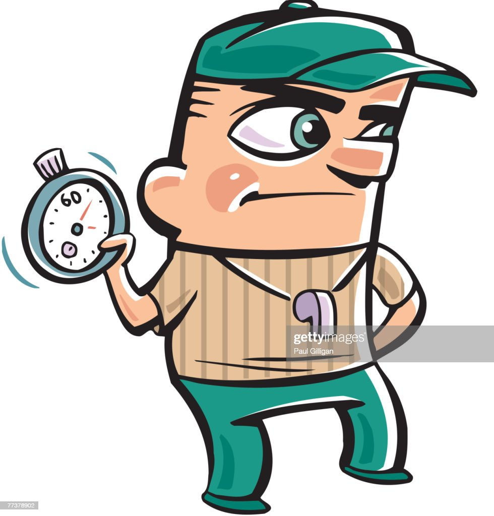 A coach holding a timer during practice : stock illustration
