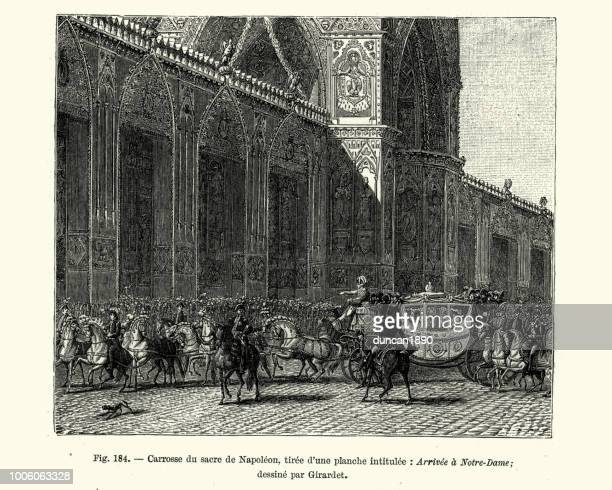 coach of the coronation of napoleon, arrive notre-dame - corona zon stock illustrations