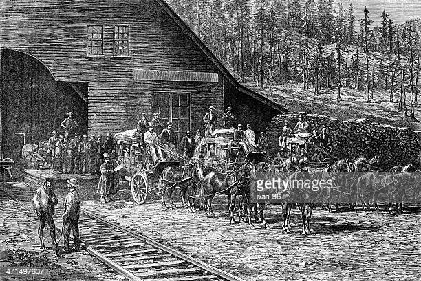 coach to virginia-city - protohistory_of_west_virginia stock illustrations