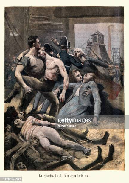 coal mining disaster at montceau les mines, france, 1895 - mining accident stock illustrations