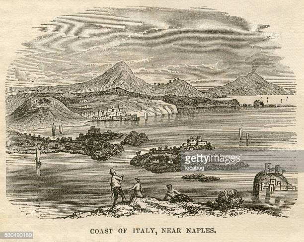 Coast of Italy Near Naples, Italian Culture, Antique 1871 Illustration