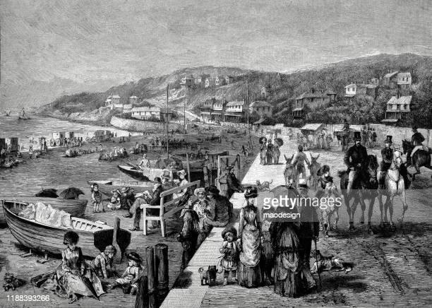 ilustrações, clipart, desenhos animados e ícones de região litoral da cidade mediterrânea - 1887