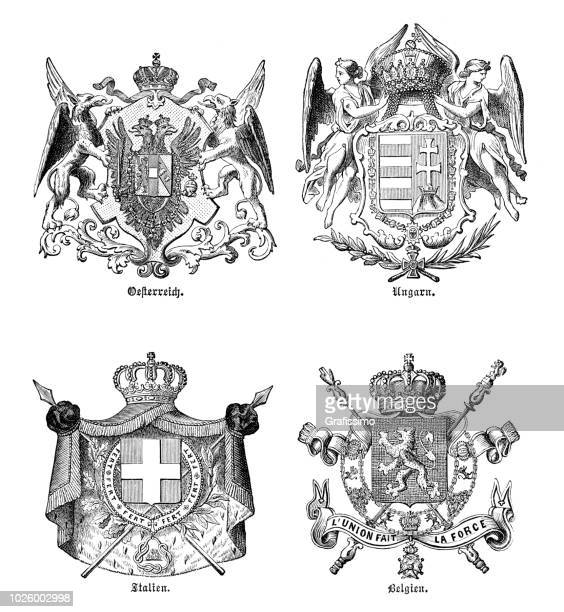 Coat of arms different country Europe 1880