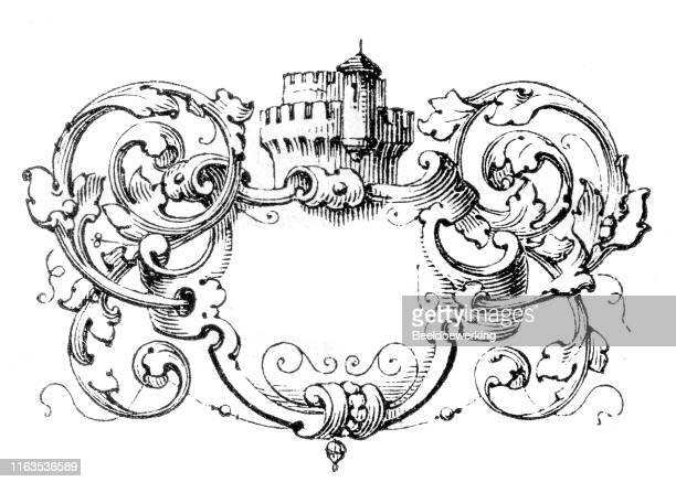 coat of arms like decoration with fictional castle tower - french culture stock illustrations