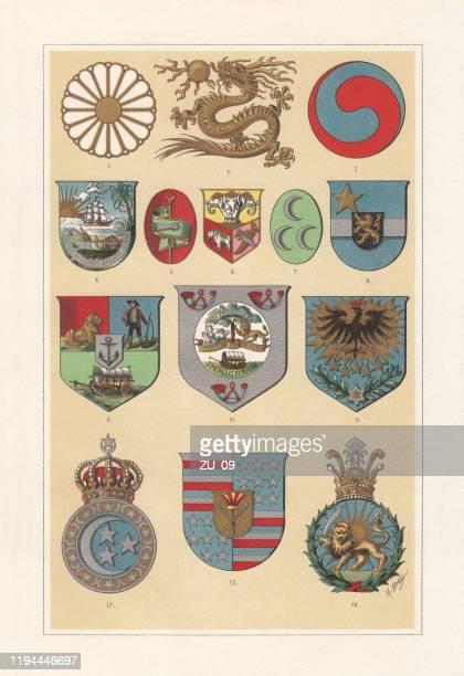 ilustrações, clipart, desenhos animados e ícones de brasão de armas de países africanos e asiáticos, cromolitografia, publicado em 1897 - libéria