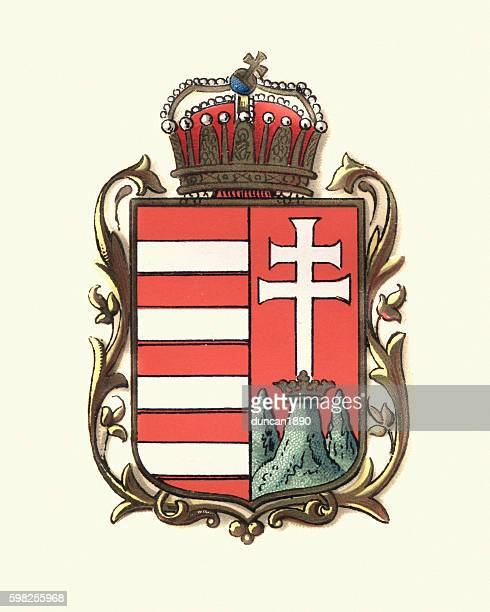 coat of arms of hungary, 1898 - traditionally hungarian stock illustrations