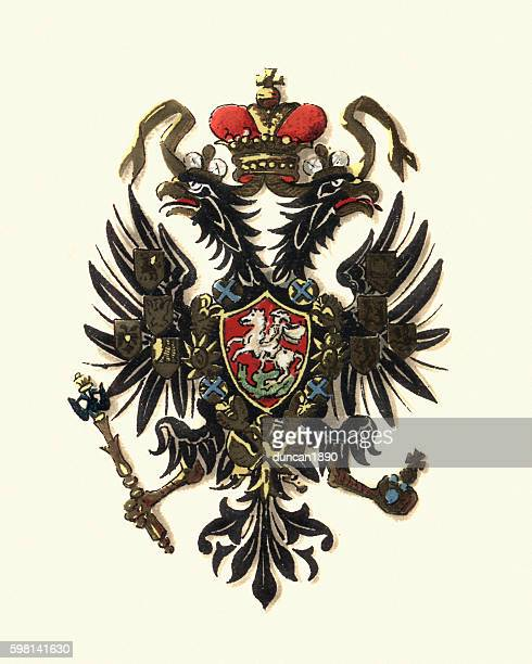 coat of arms of russia, 1898 - russian culture stock illustrations
