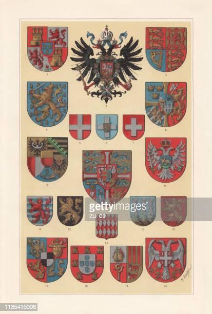 ilustrações, clipart, desenhos animados e ícones de brasão de armas dos estados europeus, litografia, publicado 1897 - sérvia