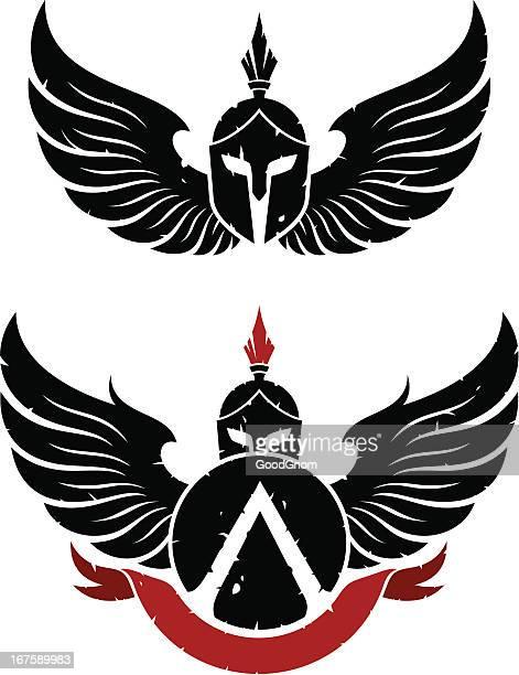coat of arms sparta - gladiator stock illustrations, clip art, cartoons, & icons