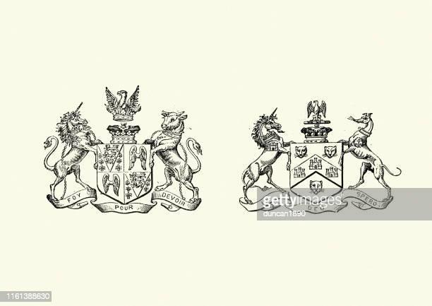 ilustrações, clipart, desenhos animados e ícones de brasão de armas, vitoriano do século xix - insígnia