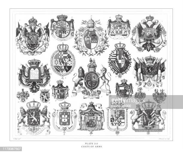 illustrazioni stock, clip art, cartoni animati e icone di tendenza di coats of arms engraving antique illustration, published 1851 - famiglia reale
