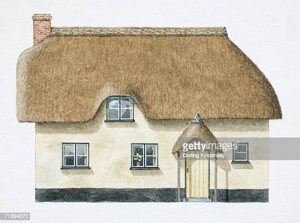 Cob cottage with overhanging thatch roof, front view.