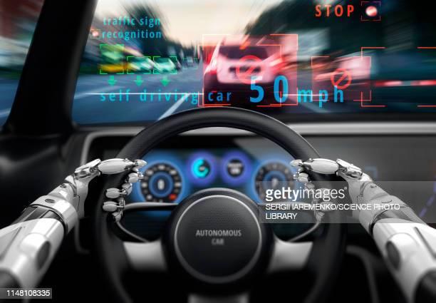 cockpit of self-driving car, illustration - artificial intelligence stock illustrations
