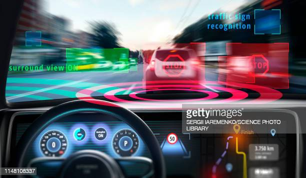 cockpit of self-driving car, illustration - automated stock illustrations