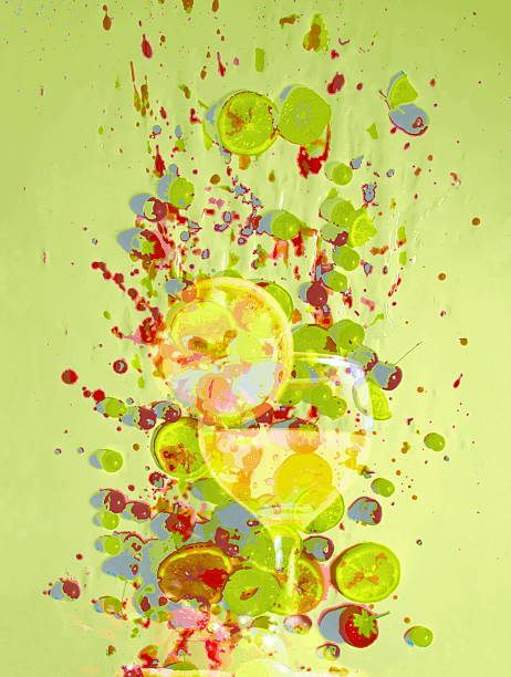 Cocktail And Fruit Against Splatterd Background Wall Art
