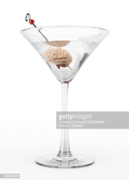 cocktail glass with human brain, illustration - out of context点のイラスト素材/クリップアート素材/マンガ素材/アイコン素材