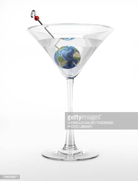 cocktail glass with planet earth, illustration - out of context点のイラスト素材/クリップアート素材/マンガ素材/アイコン素材