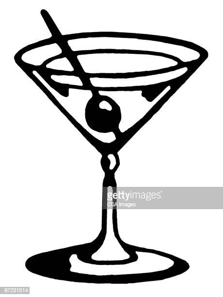 cocktail - black and white stock illustrations
