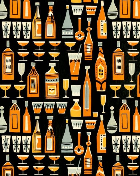 Cocktails And Liquor Bottle Pattern Wall Art