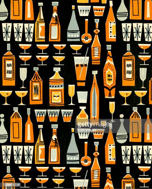 cocktails and liquor bottle pattern - happy hour stock illustrations, clip art, cartoons, & icons